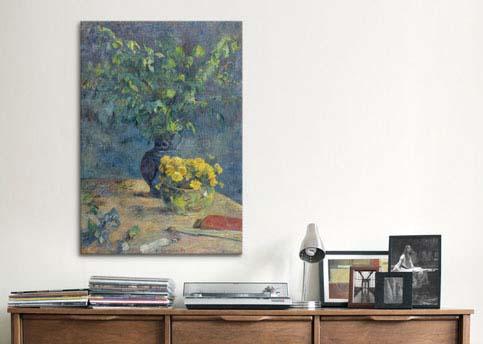 Deux Vases De Fleurs Et Un Eventail 1885 by Paul Gauguin  Canvas Print