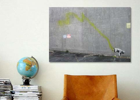Peeing Dog by Banksy  Canvas Print