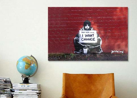 Keep Your Coins. I Want Change By Meek by Banksy  Canvas Print