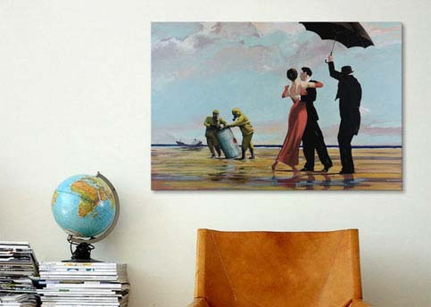 Dancing Butler On Toxic Beach  Crude Oil by Banksy  Canvas Print