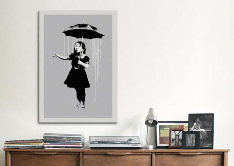 Nola Girl With Umbrella by Banksy  Canvas Print